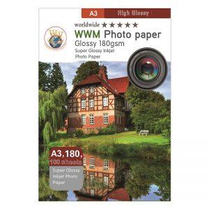 کاغذ فتوگلاسه ۱۸۰ گرم براق تک رو ۱۰۰ برگی سایزA3