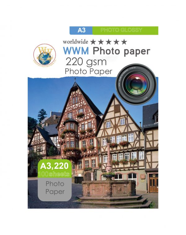 کاغذ فوتو پیپر ۲۲۰ گرم ۱۰۰ برگی سایز A3